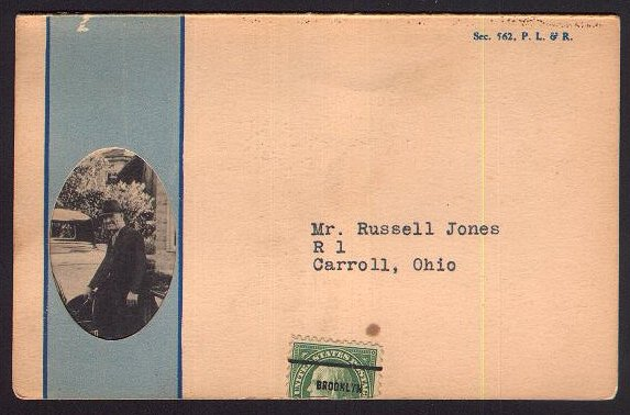 front of post card