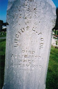 Lucius L. Foor died Apr. 16, 1899 aged 49 yr 5 m 20 d.  Photo courtesy of Sharon Disbennett