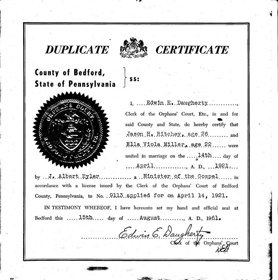Jason H Ritchey And Ella Viola Miller Marriage Certificate